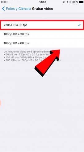 Cambiar resolucion de video iphone 3